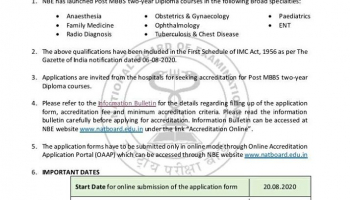 Post MBBS diploma courses by NBE launched